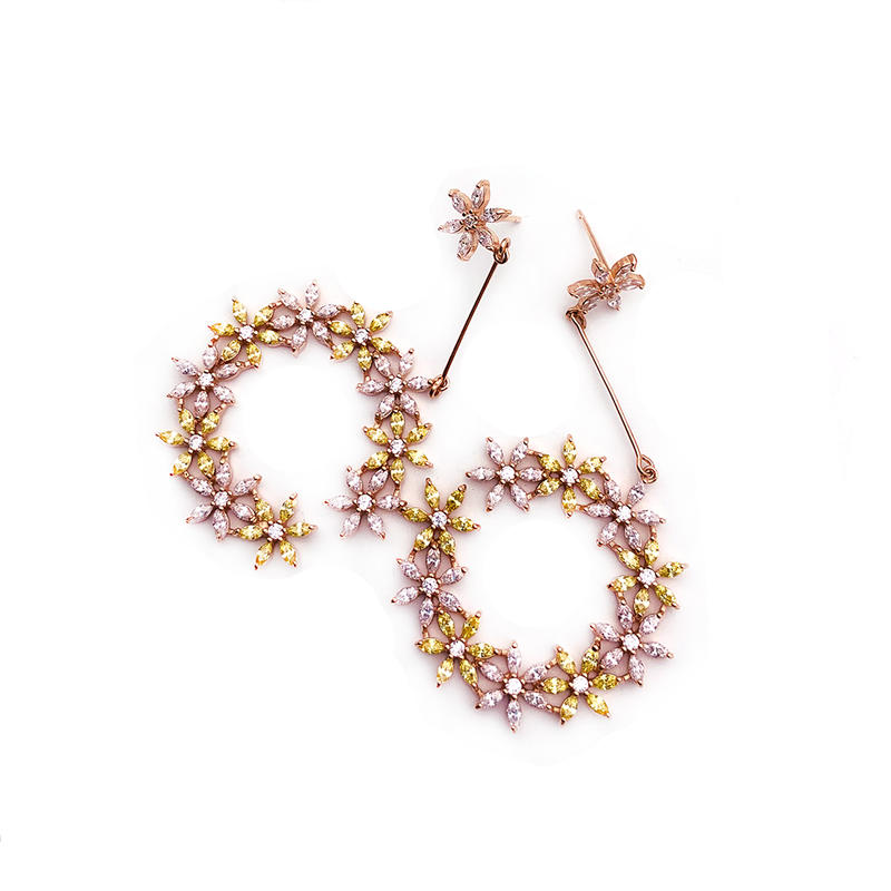 Hollow Engraved Flower Silver Ear Ring Models, Yellow And Pink Color Cz Earrings