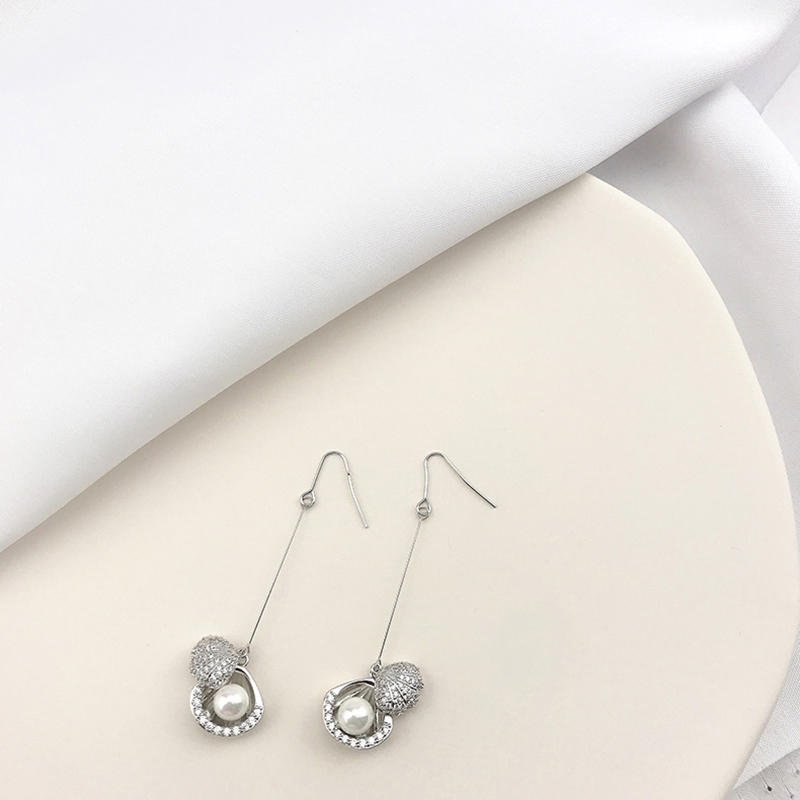 Female Personality Design Long Tassel New Pearl Earrings Gold Plated Jewelry