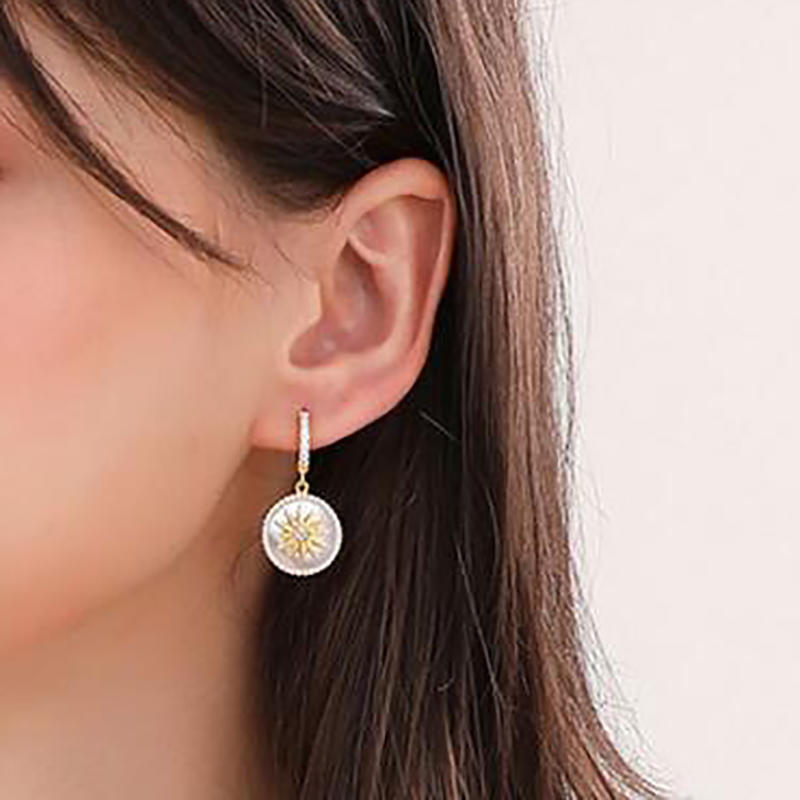 Custom White Shell Eight Awn Star Coin Earrings Jewelry