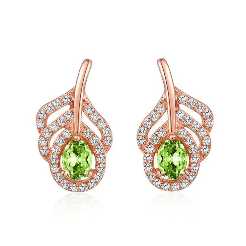 2020 New Trendy Peacock Feather Design Peridot Silver Emerald Green Earrings