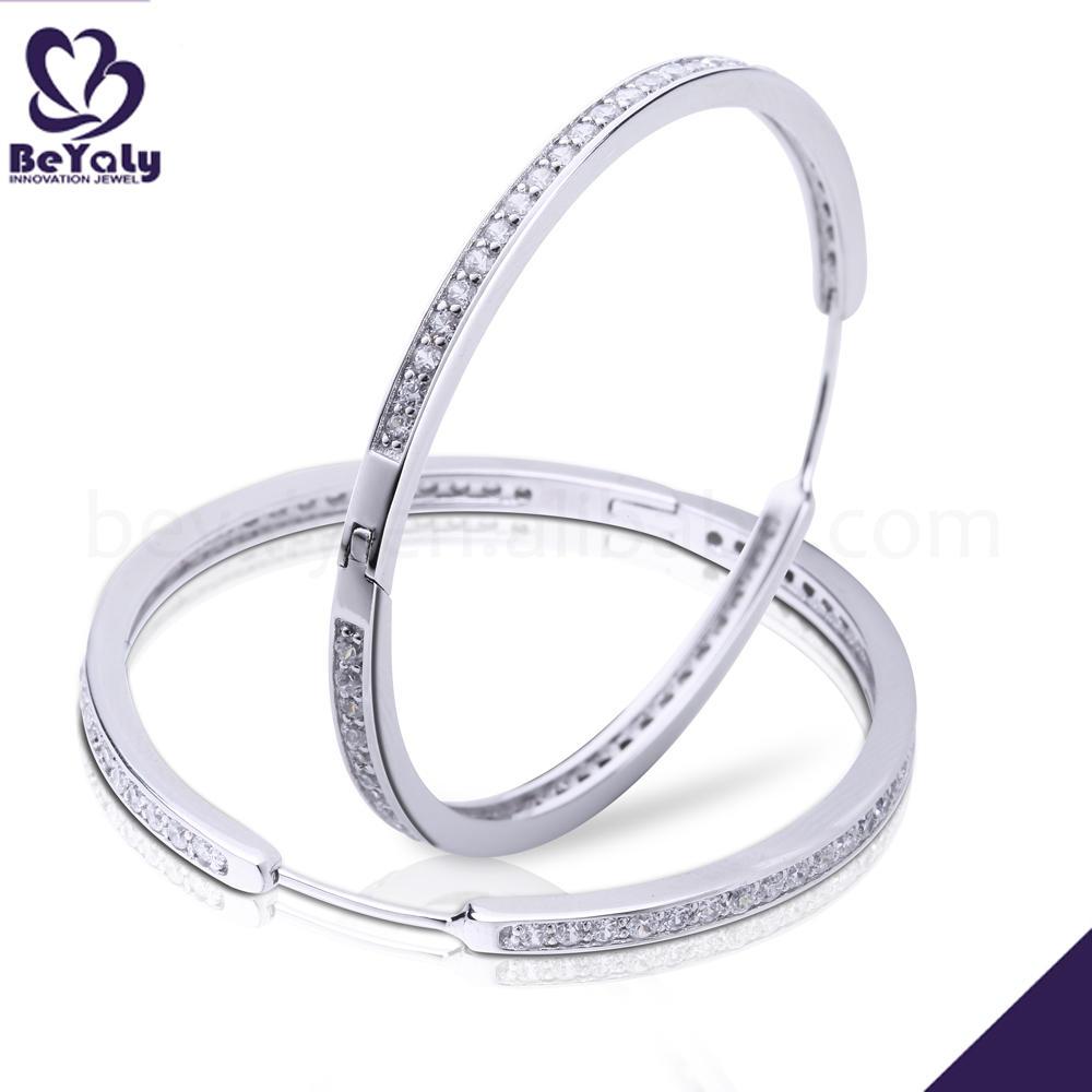 Elegant cubic zircon big hoop silver cheap clip earrings