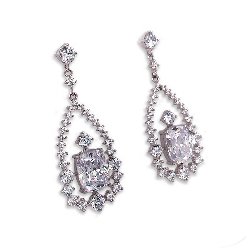 Geometric Luxury Crystal Pendant Earrings, Women's Prom Jewelry