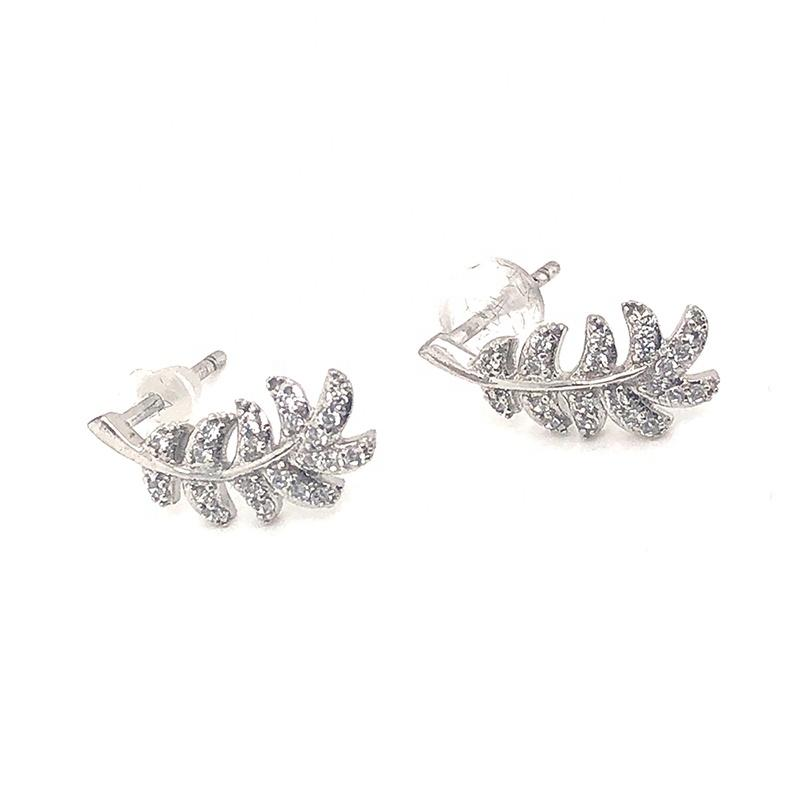 Rhodium-Plated Silver Earrings Feather-Shaped Cz Jewelry