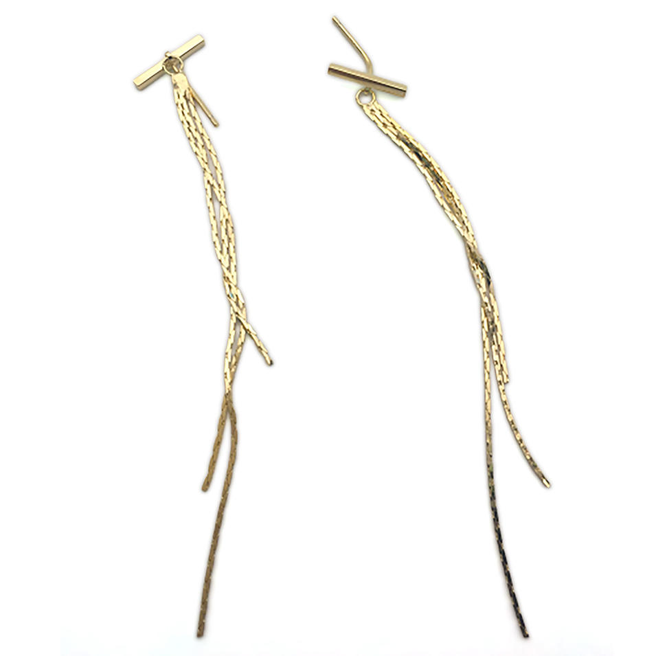 New Minimalism Gold Plated Long Wire Earrings Bohemian Jewelry