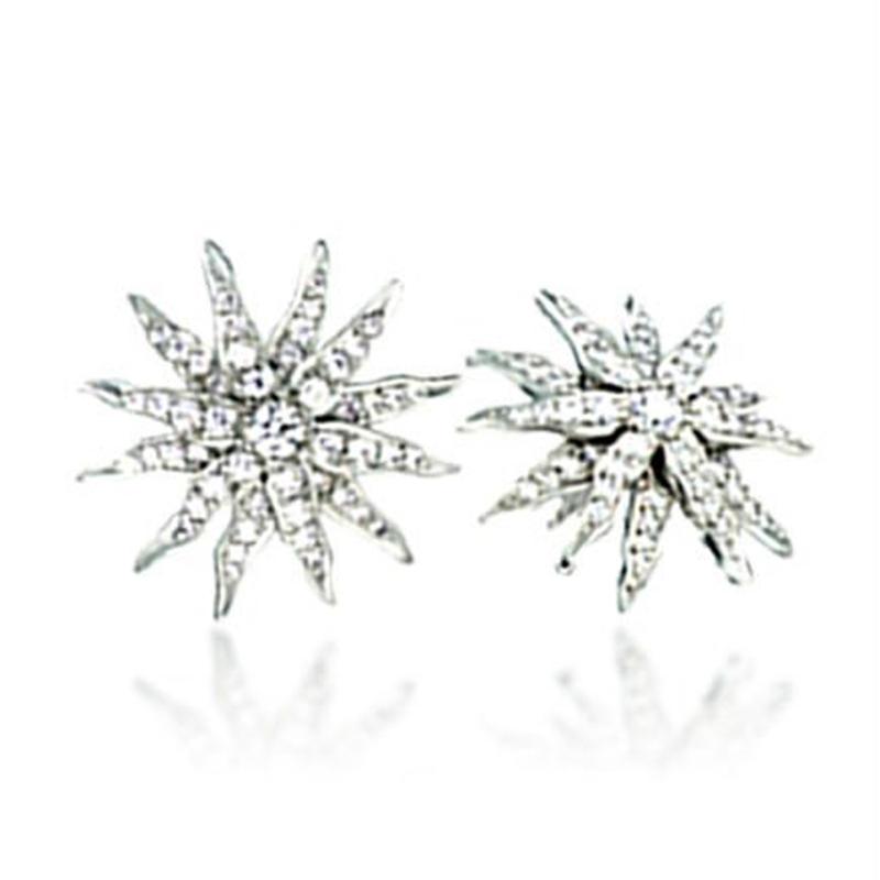Sun shape design cubic zirconia silver vietnam jewelry earrings