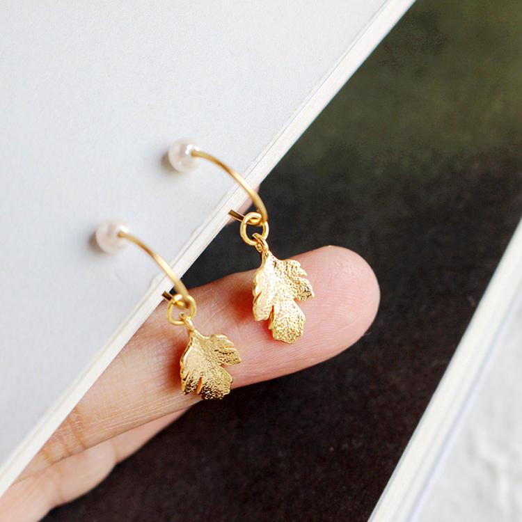 925 Silver Ladies Vintage Earrings,Copper Gold Plated Crystal Pearl Leaf Earrings