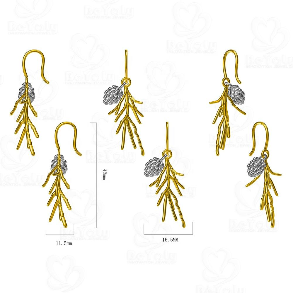 3D Computer Design Gold Plated Handmade Pinecone Tree Branch String Earrings