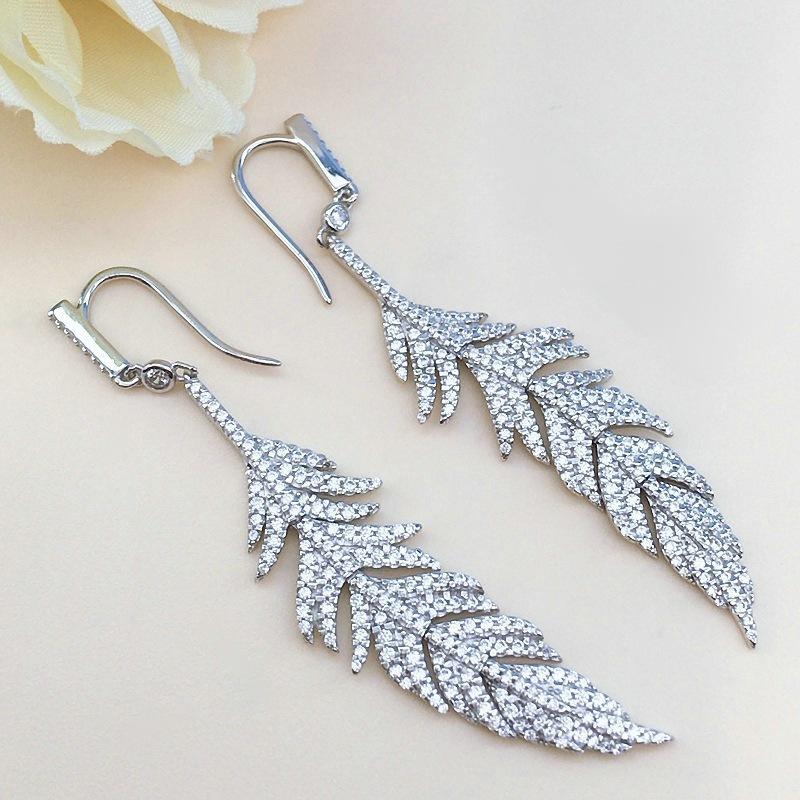 Hot Sell Nice Wing Feather Jewellery Silver Earrings Women