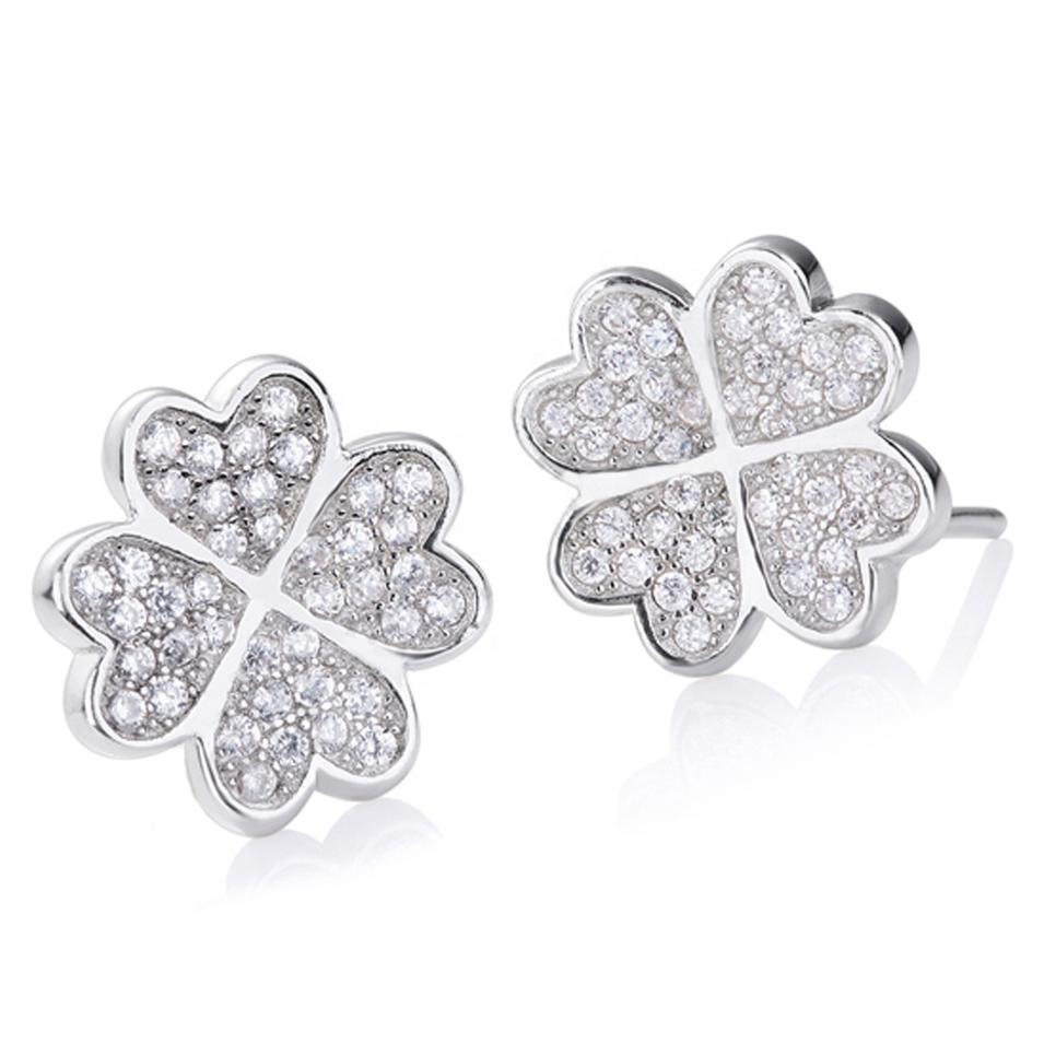 925 Silver Earrings, Heart Design Four-Leaf Clover Stud Earrings