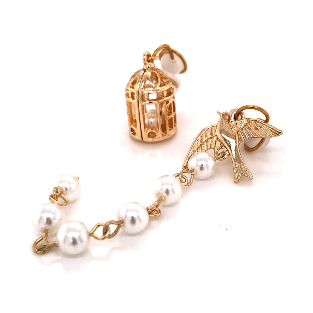 Simple Birdcage Tassel Pearls Manual Painless Invisible Coil Ear Clip Asymmetrical Earrings