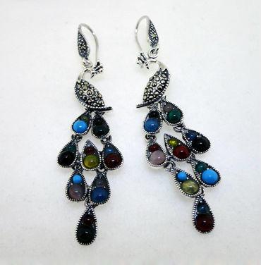 Splendid peacock shape beauty stone earing silver hook