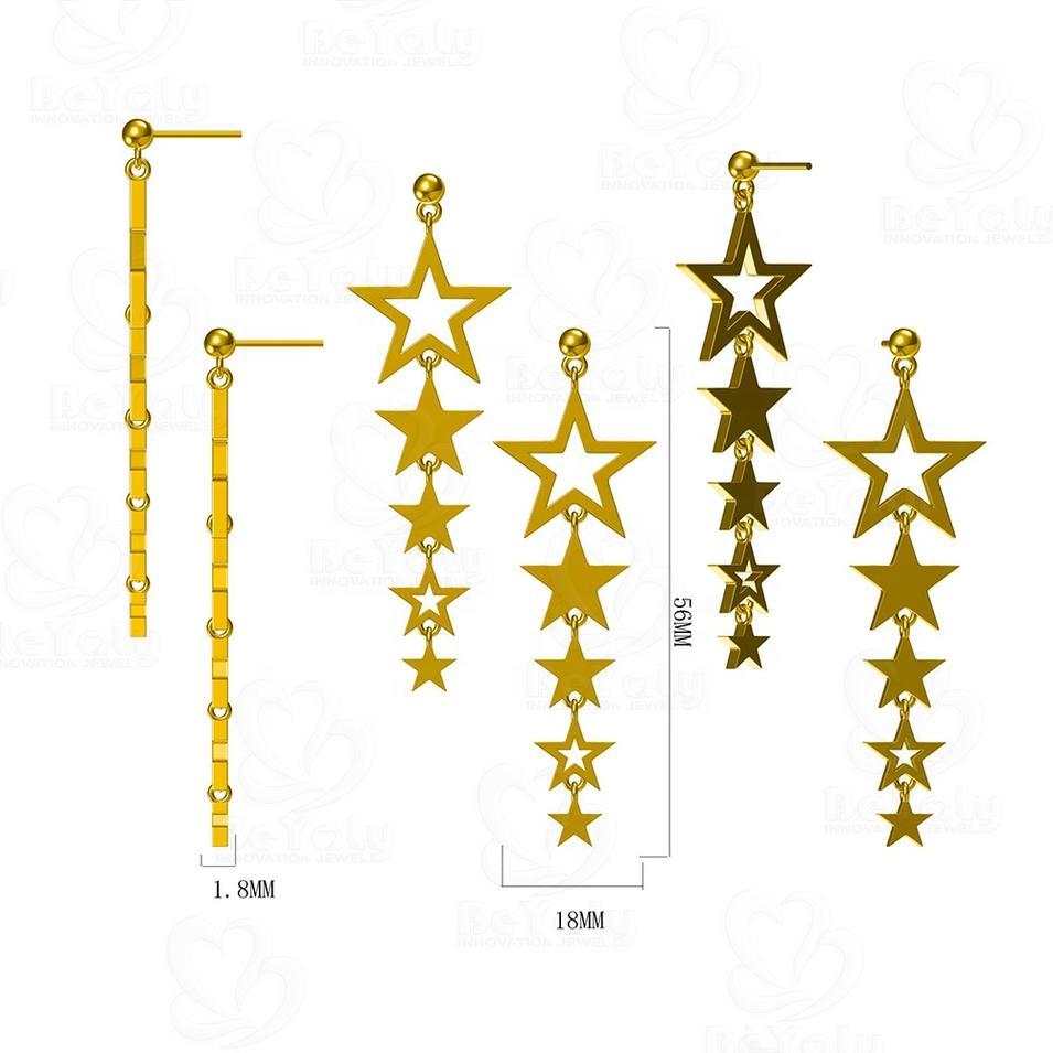 Custom Gold Plated Long String Stars Pendant Earring Silver 925 For Women