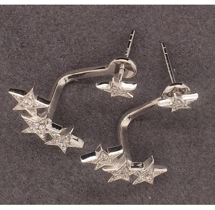 Shiny Star Cz Design Silver 925 Logo Studded Cute Earrings