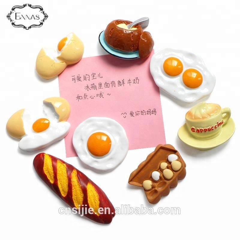 Custom 3D fruit polyresin magnet Breakfast resin fridge magnets