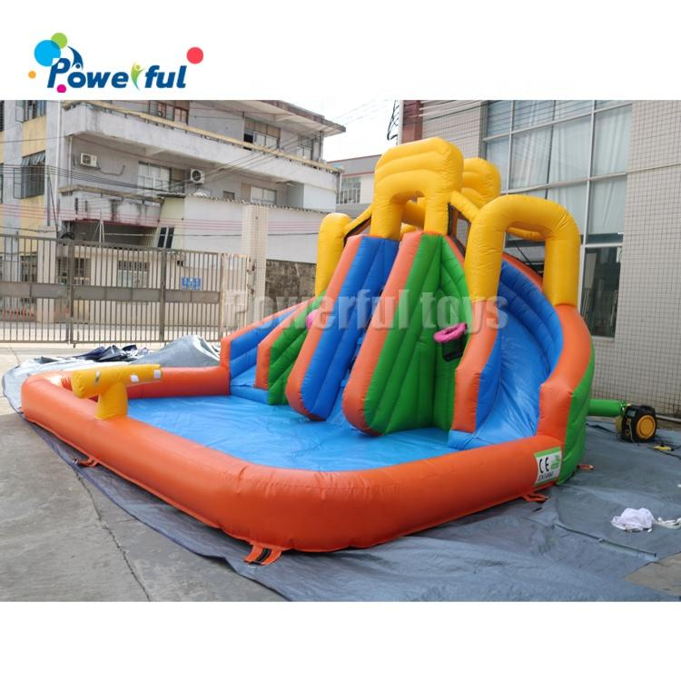 Colorful inflatable bouncy castle double slide bounce house