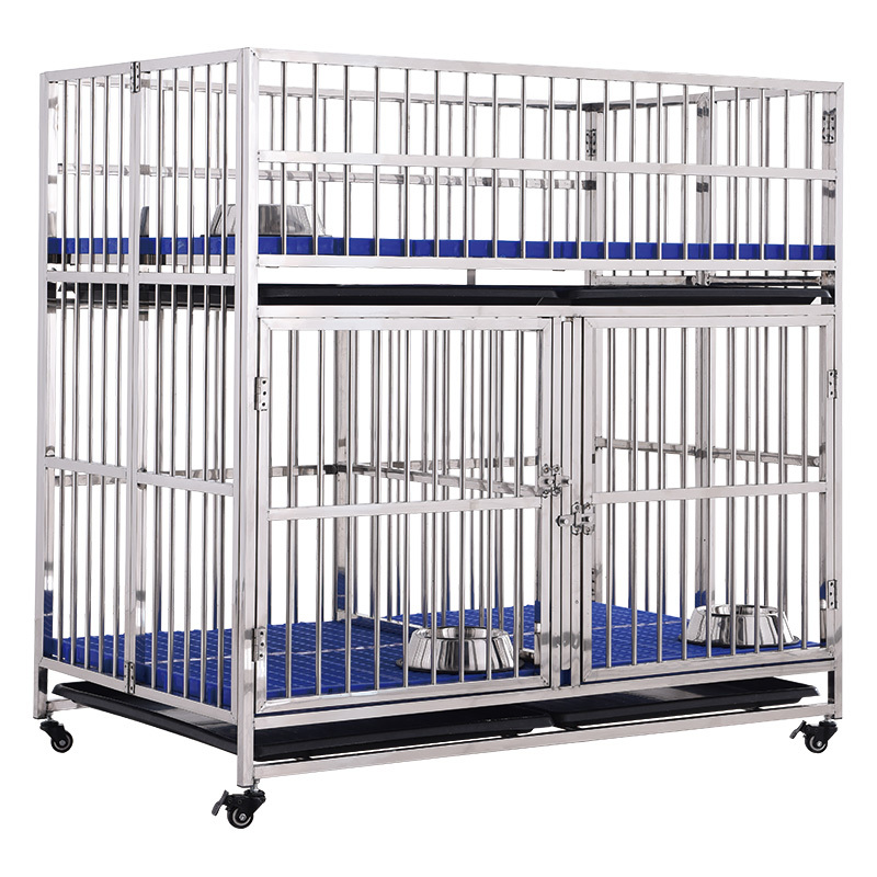 dog crate 2 door folding stainless steel pet cage puppy kennel house with plastic tray
