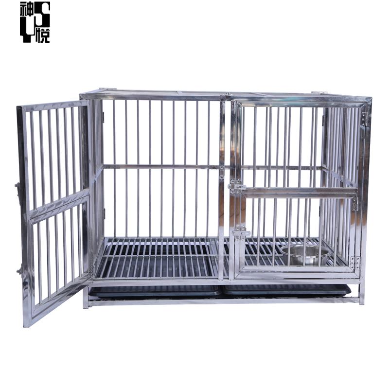 Heavy Duty Strong Stainless Steel 4 foot Dog Cage with Wheels