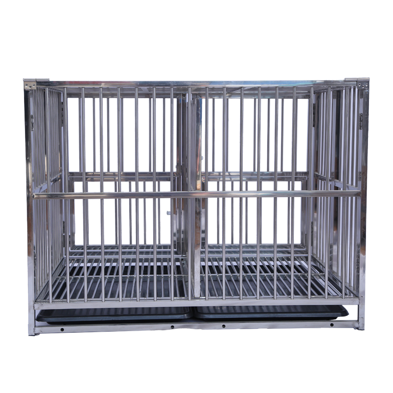 Single Door Foldable Stainless Steel Dog Kennel Cage With Divider