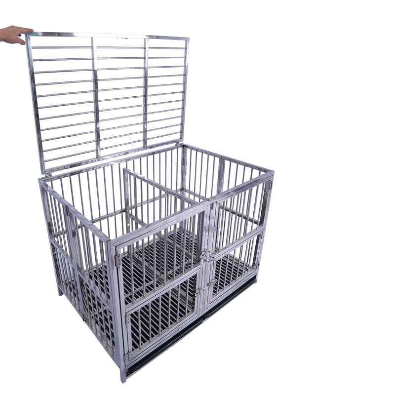 Strong Stainless SteelCarriers Houses Double Dog CageWith Wheels