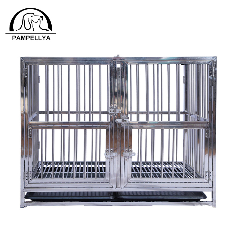 PAMPELLYA Stainless Steel Multiple Sizes Strong and Folding Dog Child Cage with Two Doors