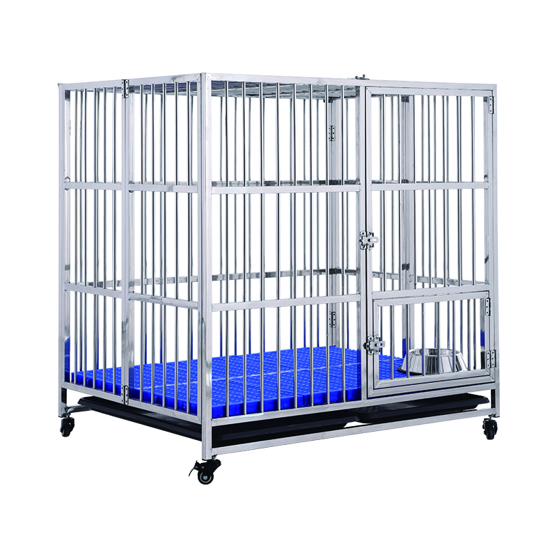 Large stainless steel folding dog crate dog kennels pet dog cage