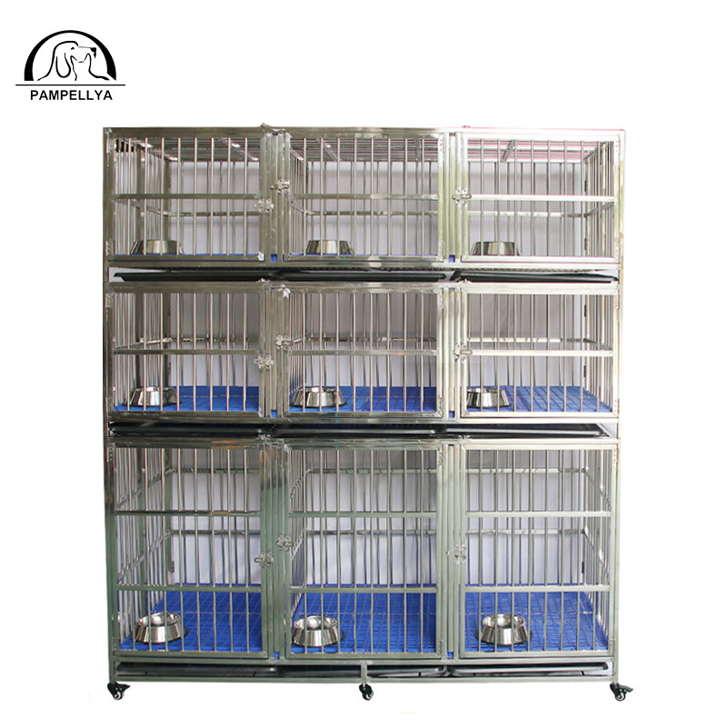 Strong Stainless Steel Material 3 layers 9 Door Folding Big Pet Dog Cage with Wheels