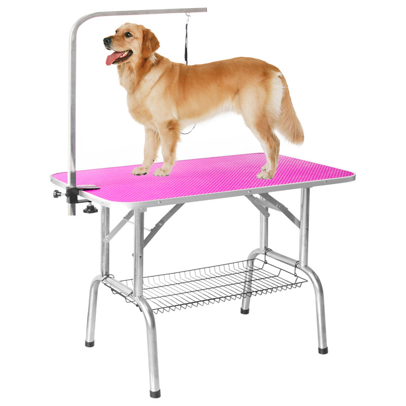 Easy Carry Foldable Pet Dog Grooming Table With Removable Arm