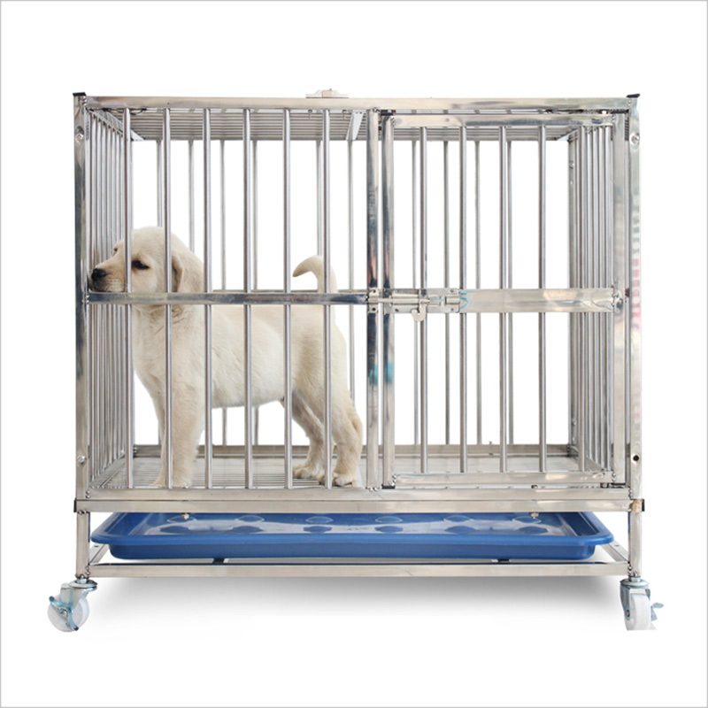 Stainless Steel Dog Cage Whosale and Well Sale Pet Dog Crates With Wheels