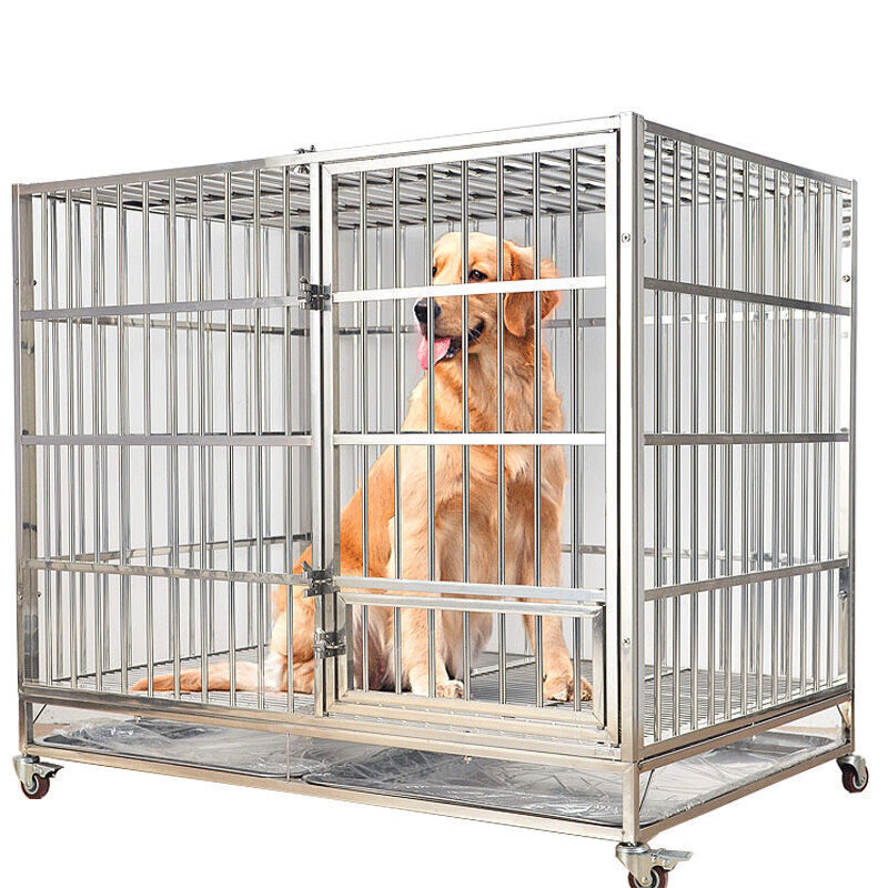 Fold Stainless Steel Dog Cage Kennel With Wheels Commercial Dog Cage