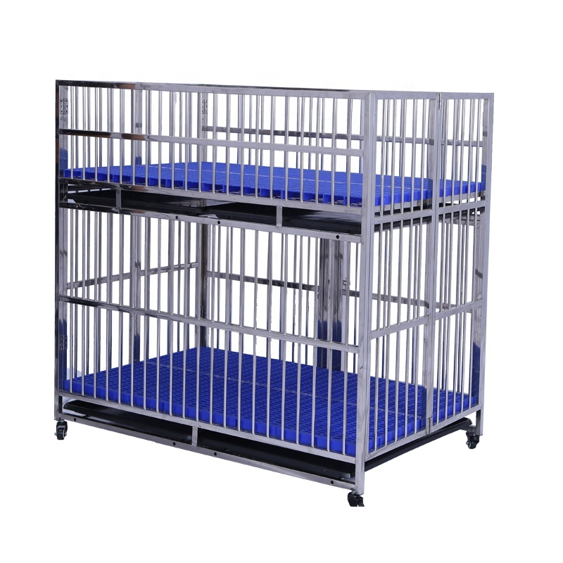 Big Size Stainless Steel Double layer Child And Mother Dog Run Cage with Wheels