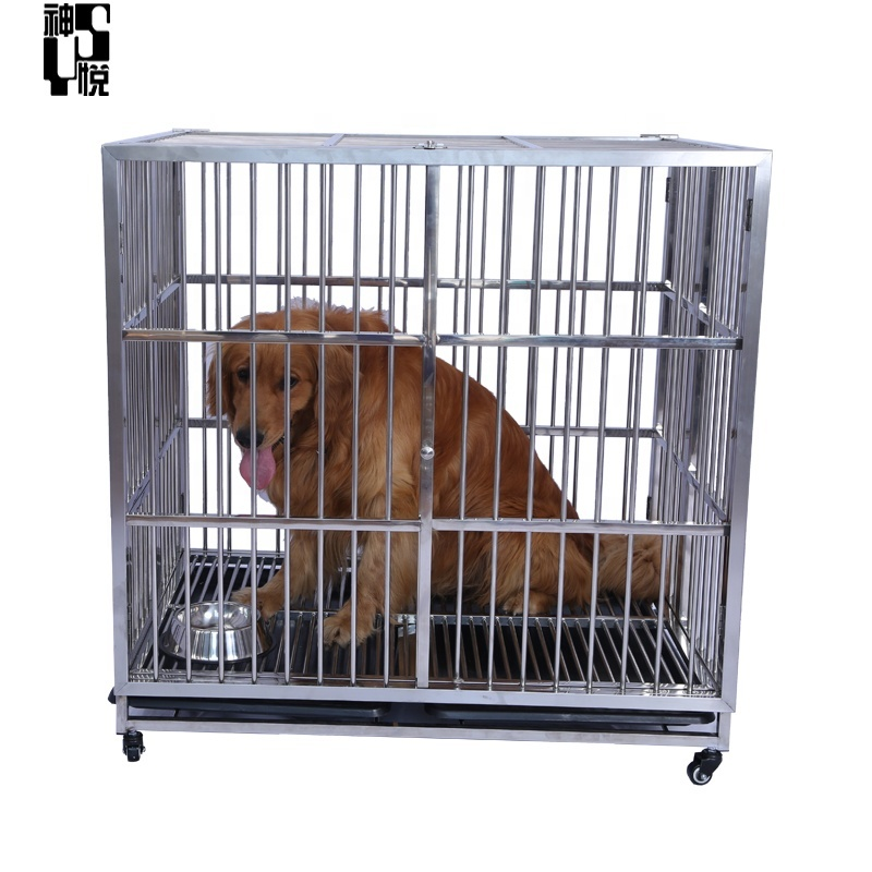Metal Pet Crate Kennel Tray Wheels Folding Portable dog cage