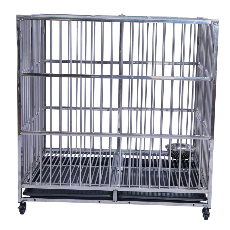 Heavy Duty Kennel Pet Cage House Large Dog Crate with Trays and Wheels