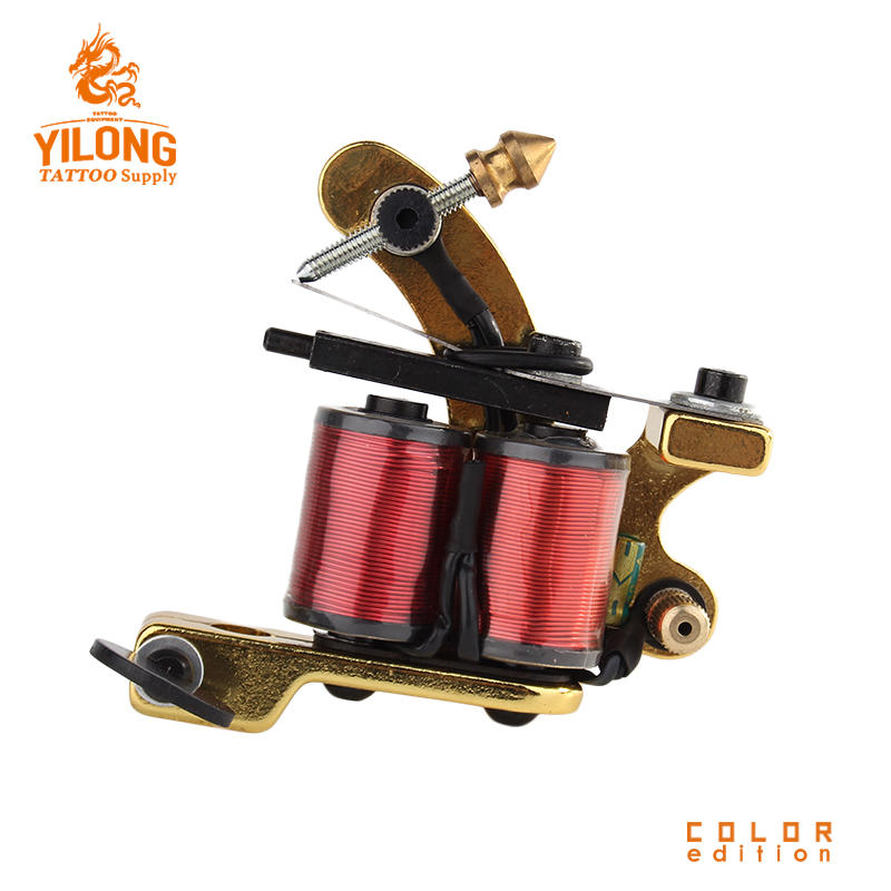 Yilong Wholesale ProfessionalImitating Sunshine Coil Machine 10 Wrap steel Iron Core Machine Alloy Coil Tattoo Machine