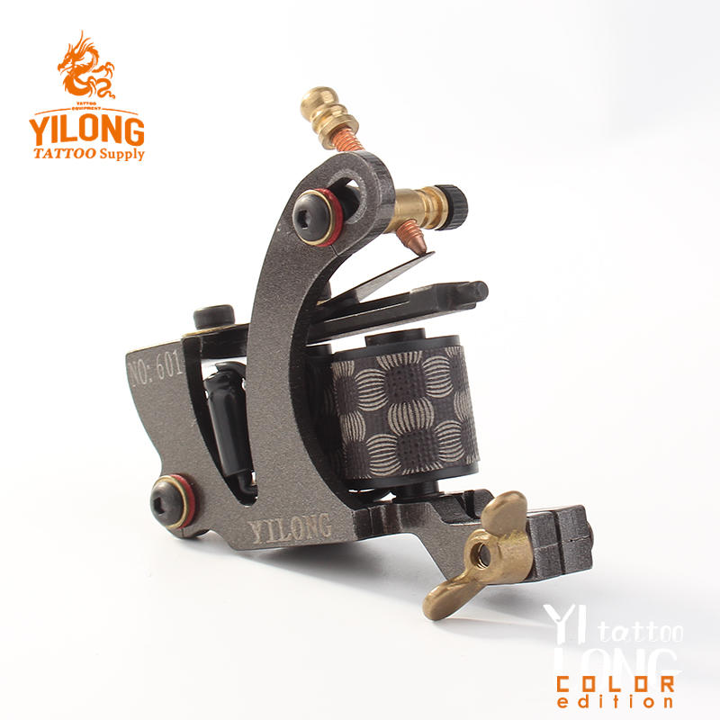 YilongTattoo Coil Machine 10 Wrap steel machineProfessional Carbon Steel Cut Mould Tattoo Machine