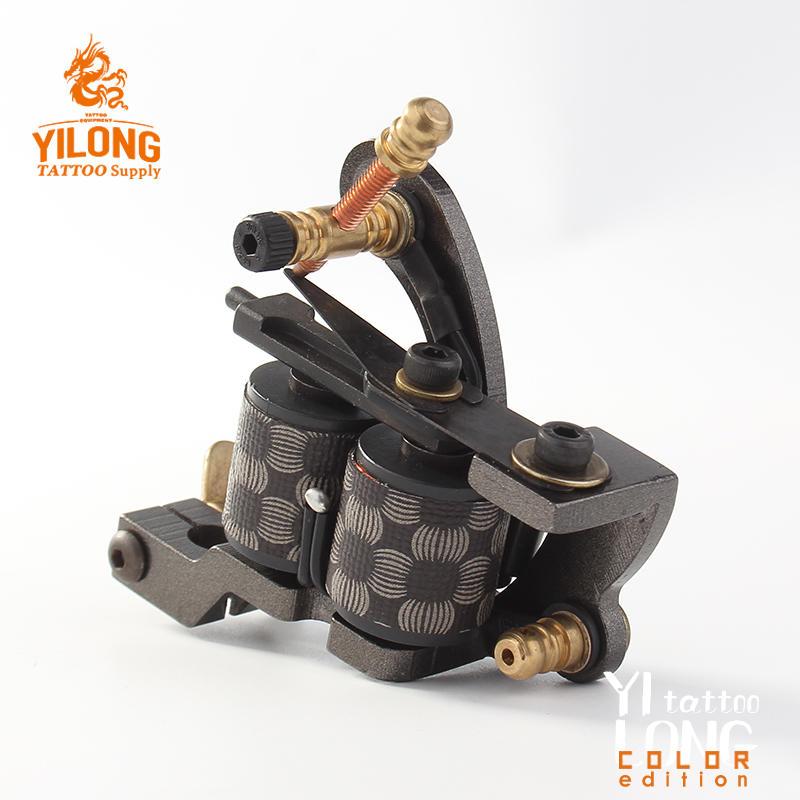 YilongTattoo Coil Machine 10 Wrap steel machineProfessional Carbon Steel Cut Mould Tattoo Machine