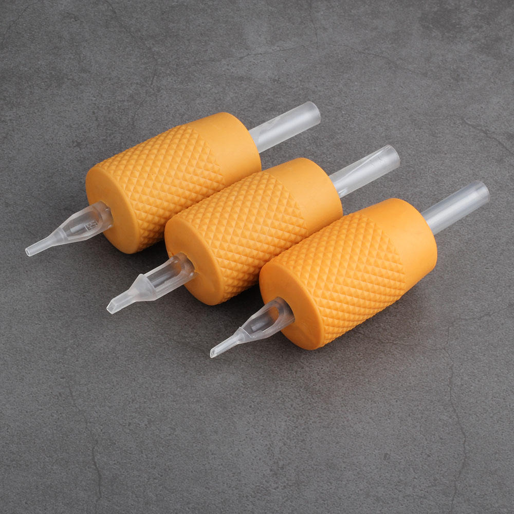 Orange Silicone 30mm Disposable Tattoo Machine Grip with Transparent Tube