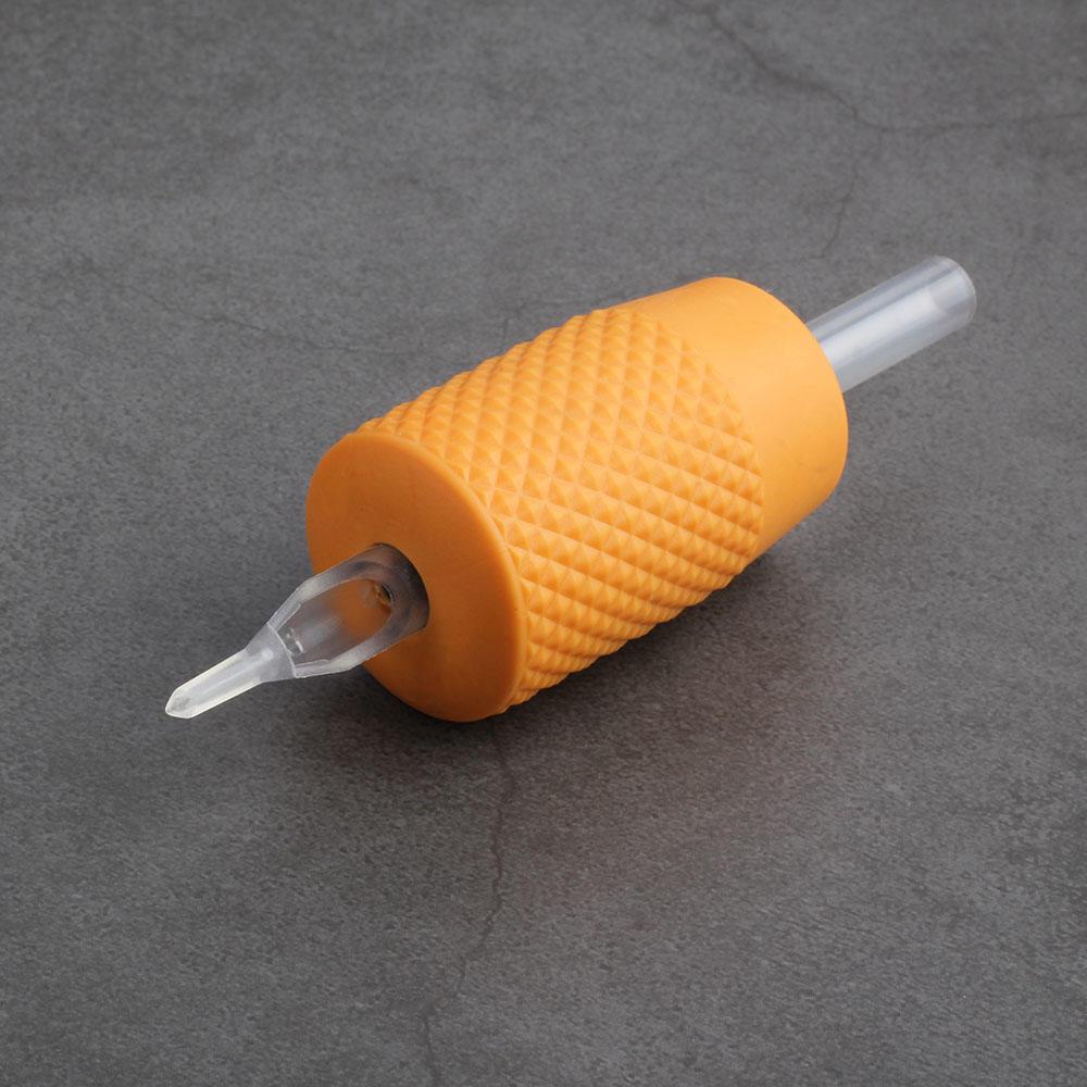 Orange Silicone 30mm Disposable Tattoo Machine Grip with Transparent Tube