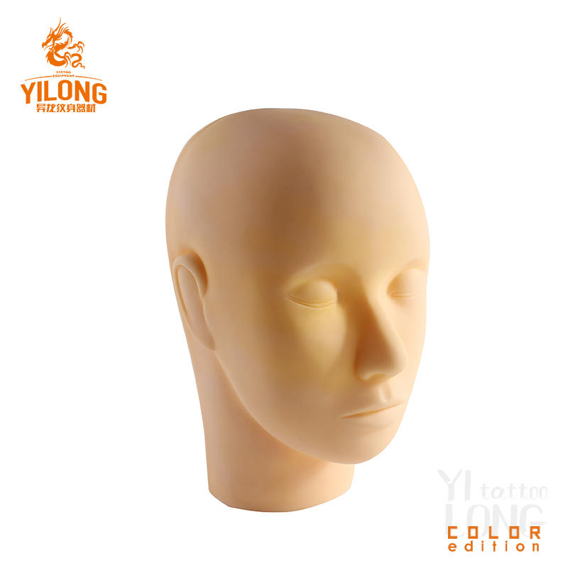 Yilong Professional Tattoo Practice Skin Model High Quality 3D Mannequin Head For Permanent Makeup Tattoo