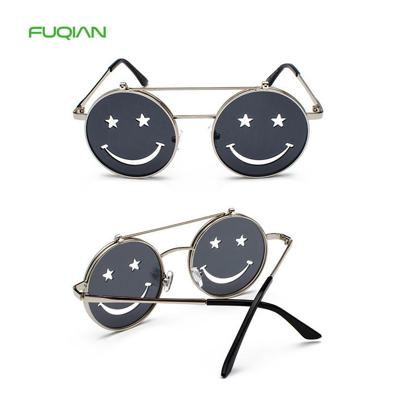 Fashion 2019 Newest Cat3 UV400 Round Men Smile Mirror Women Flip SunglassesFashion 2019 Newest Cat3 UV400 Round Men Smile Mirror Women Flip Sunglasses