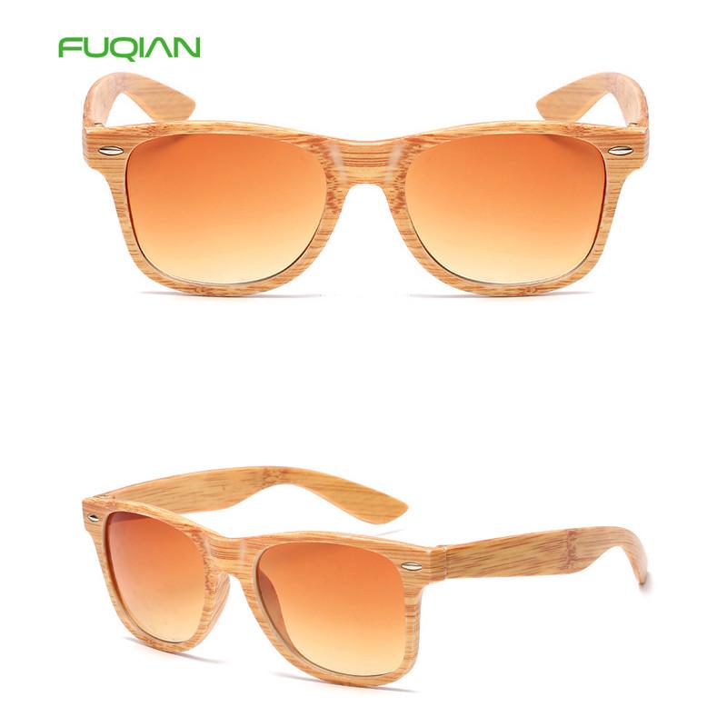 Cheap Square Frame Grey Lens Custom Logo Bamboo Wood Grain Women Men Sunglasses