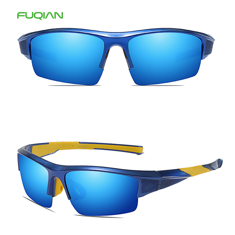 Fuqian semi rimless eye-guarder polarized men women sports sunglasses