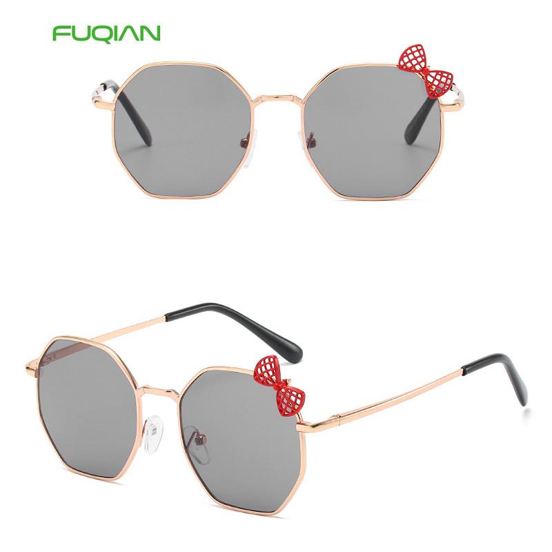 Trendy Cute Polygonal Metal Gradient Girls Glasses Round Kids Bow Sunglasses