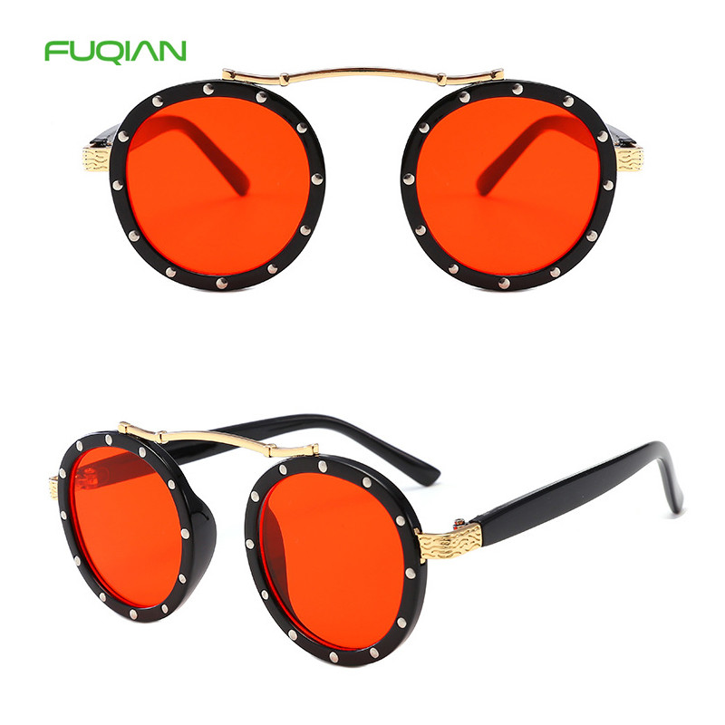 Customized Logo New Fashion Personality Nails Round Frame Ocean Lens Kids Sunglasses