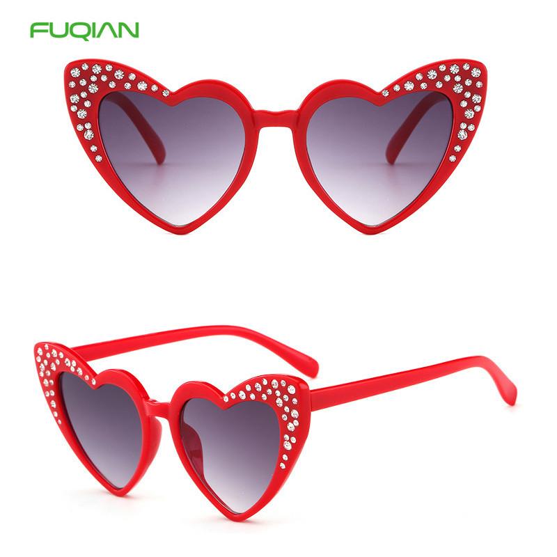 2020 New Arrival Diamond Plastic Frame Bling Eyewear Heart Kids Sunglasses