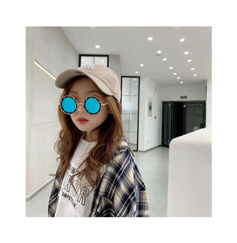 Children Sunglasses Fashion Round Metal PC Frame Gradient Kids Sunglasses