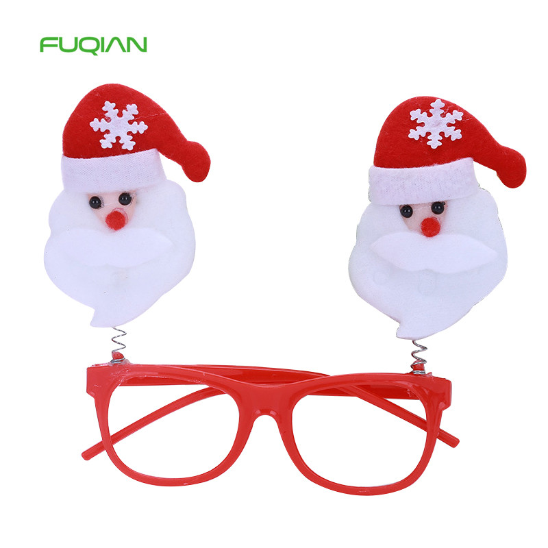 Christmas Red Glitter Glasses Frame Party Decorations Santa Claus Deer Tree Props