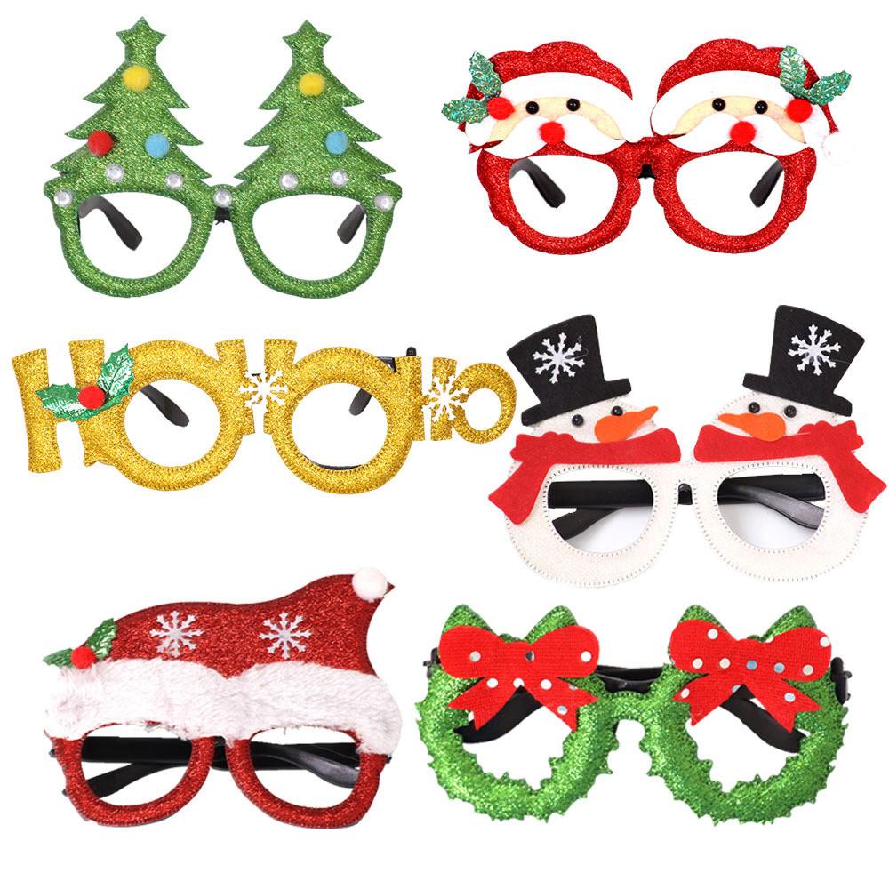Santa Claus Glasses Christmas Decoration Glitter Glasses Frame