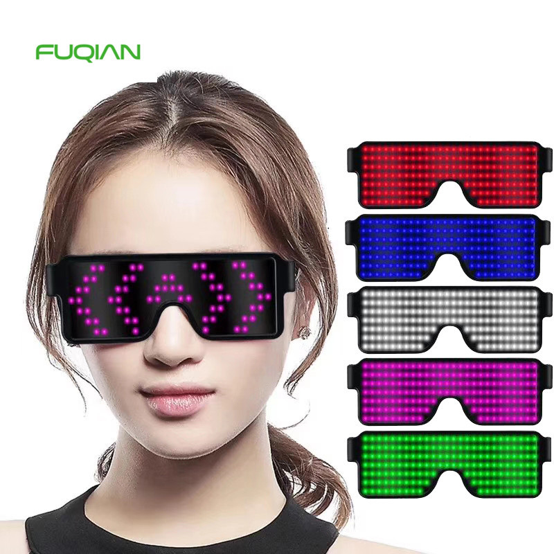 Festive Sunglasses  Quick Flash Led Party Toys USB Charge Sunglasses