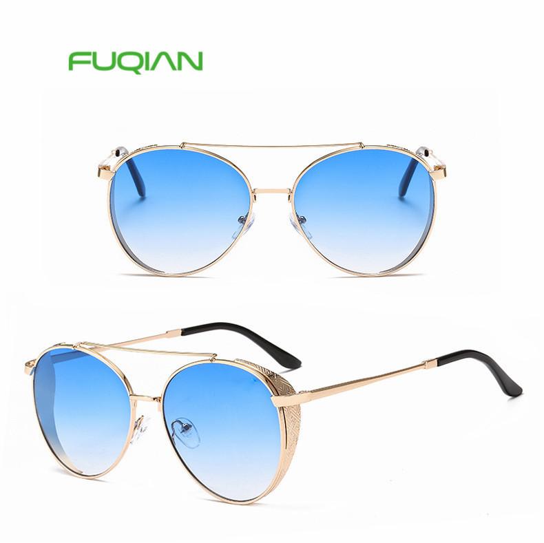 2019 New Steampunk De Sol Gafas Oculos Unisex Metal Round Wide-Brimmed Sunglasses