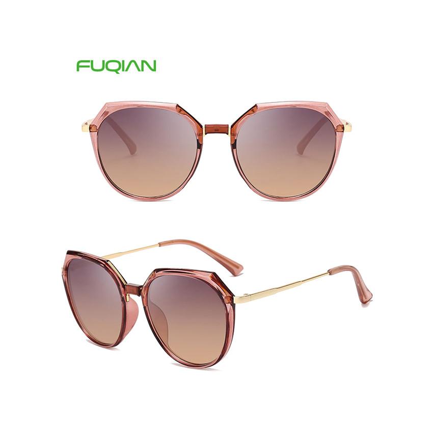 Vintage OEM Cutting Frame Round Plastic Women Mirror Shades Sunglasses